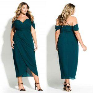 City Chic Entwine Maxi Dress Emerald Size 22/XL